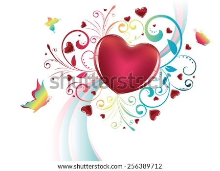 Red glossy heart with decorative floral ornament and colorful butterflies. - stock vector
