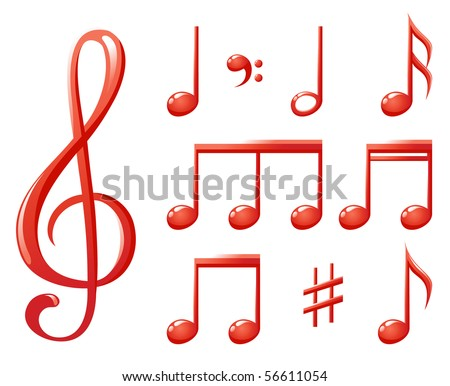 red glossy music notes - stock vector