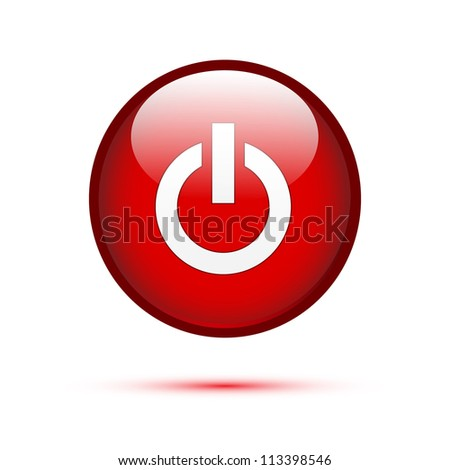 Red glossy power button on white (Power Off) - stock vector