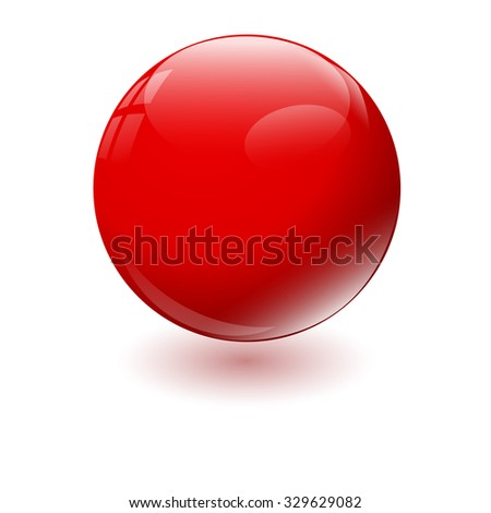 Red glossy sphere isolated on white. Vector illustration. - stock vector