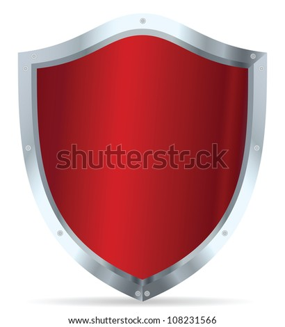 Red glossy steel shield - stock vector
