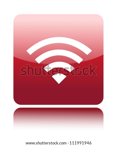 Red glossy wireless or wifi button sign (Closed wifi or wireless) - stock vector