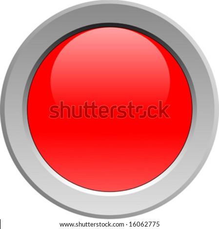 Red glowing light in metal fixture - stock vector