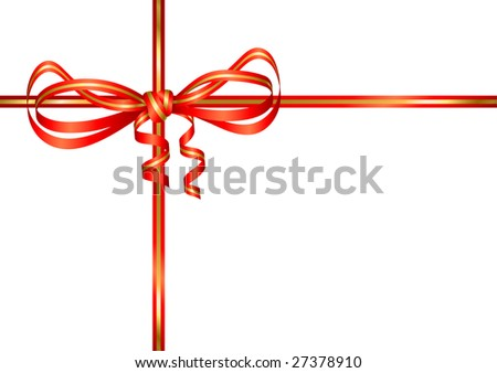 red gold bow present. Vector illustration - stock vector