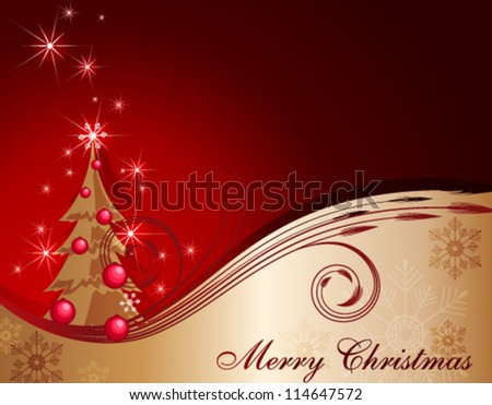 Red-Gold Christmas background - stock vector