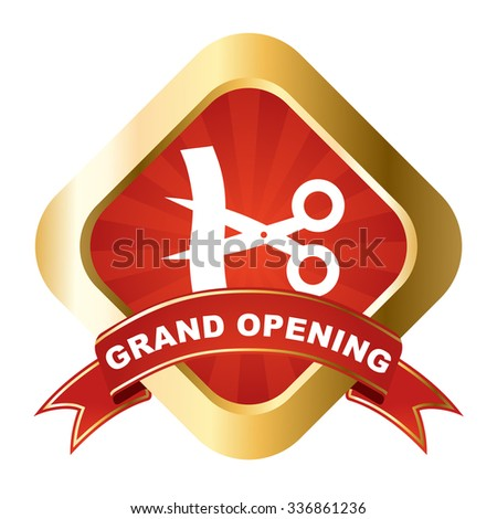 red - gold vector sign grand opening - stock vector