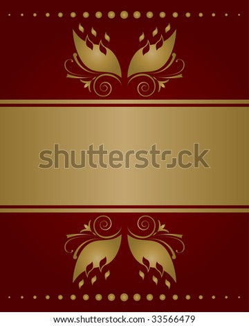 Red golden invitation card template