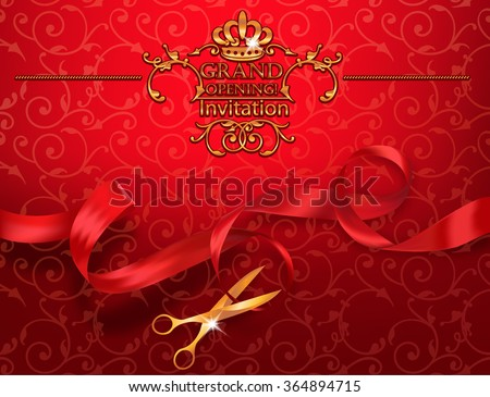 Red grand opening invitation card scissors stock vector hd royalty red grand opening invitation card with scissors and red ribbon stopboris Gallery
