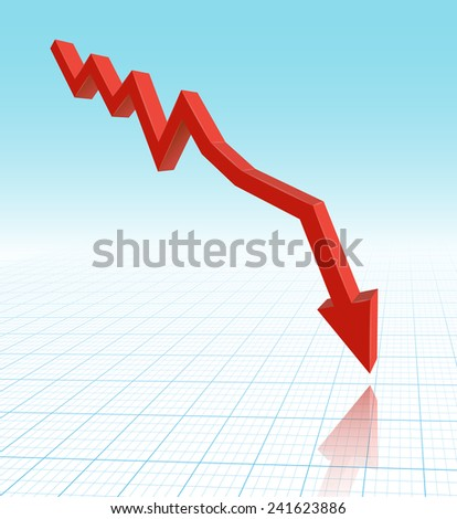 red graph arrow - stock vector