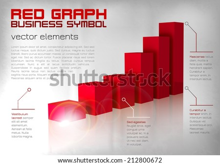 Red graph up. Vector business layout. - stock vector