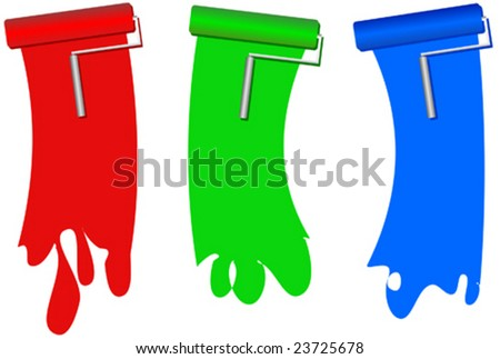 Red, green and blue paint rollers with paint