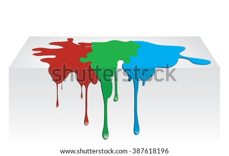 Red, green, blue paint dripping onto background surface. Vector illustration.