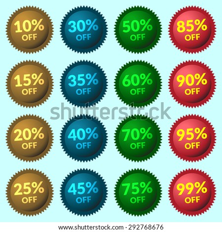 Red, green, brown and blue discount price tags on light-blue background. Set of colorfull sale stickers and labels. Collection sale discount banners. Vector illustration  - stock vector