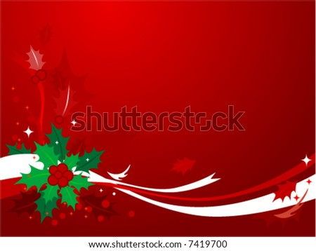 Red & green Christmas background of holly and ribbons. See Image #7419709 for Hi-res JPG version. - stock vector