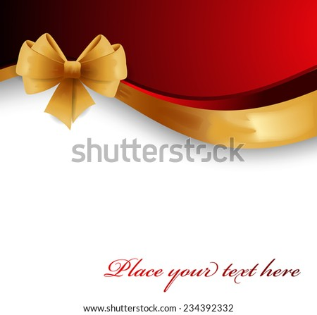 Red greeting card with gold bow - stock vector