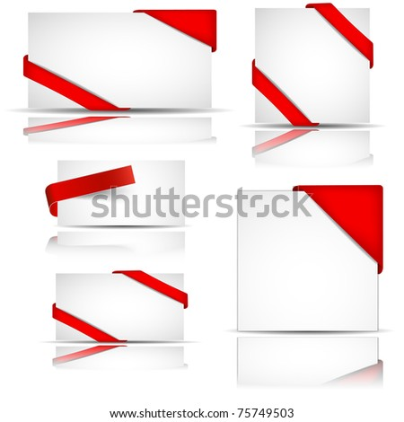 red greeting or invitation cards , vector - stock vector