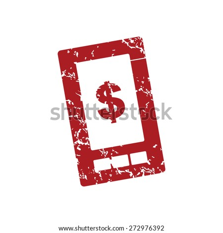 Red grunge dollar phone logo on a white background. Vector illustration - stock vector