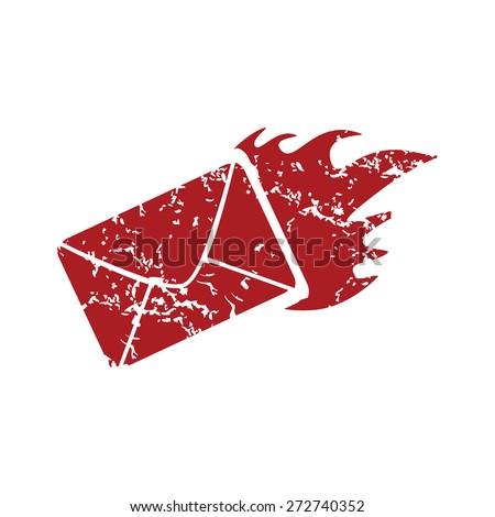 Red grunge hot letter logo on a white background. Vector illustration - stock vector