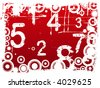 Red Grunge Illustration with Acid Etched Numbers and circles (Layered Vector) - stock vector