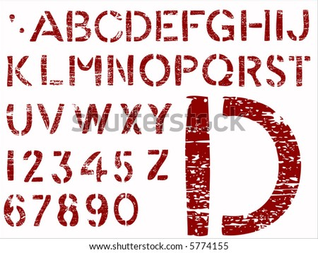 Red Grunge Letters -   36 Individual Vector Letters and Numbers grouped for easy use and coloring - stock vector