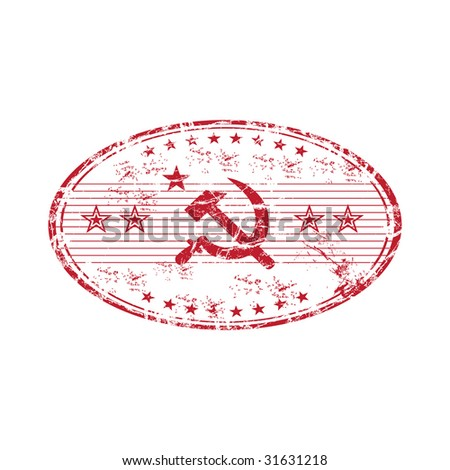 Red grunge rubber communism stamp isolated on white background - stock vector