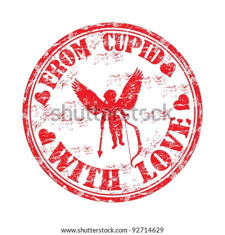 Red grunge rubber stamp with cupid silhouette and the text from cupid with love written inside the stamp