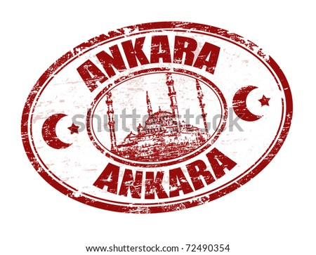 Red grunge rubber stamp with Kocatepe Mosque shape and the name of Ankara written inside