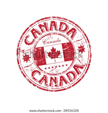 Red grunge rubber stamp with the canadian flag and the name of Canada written inside the stamp - stock vector
