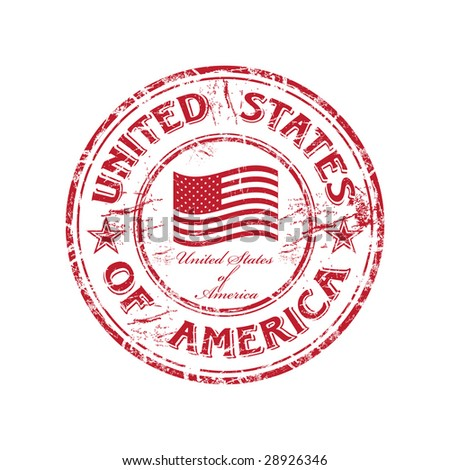Red grunge rubber stamp with the flag of USA and the name of the United States of America written inside the stamp - stock vector