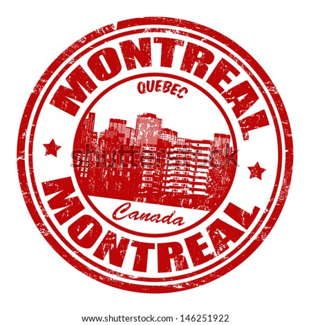 Red grunge rubber stamp with the name of Montreal, a city located in Canada, in the province of Quebec