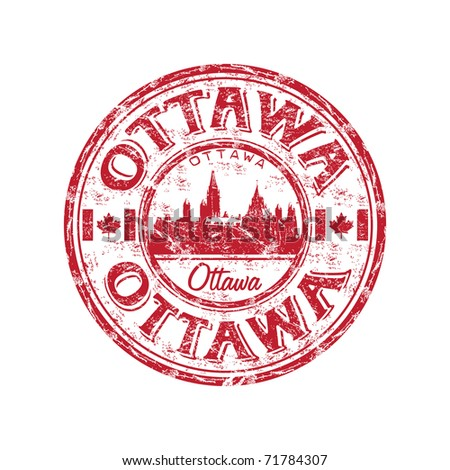 Red grunge rubber stamp with the name of Ottawa the capital of Canada written inside the stamp