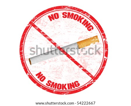 Red grunge rubber stamp with the no smoking symbol in the stamp - stock vector