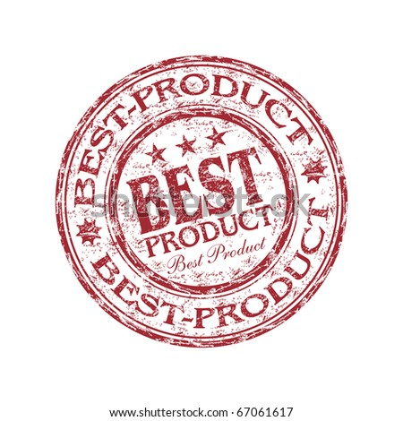 Red grunge rubber stamp with the text best product written inside the stamp