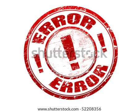 Red grunge rubber stamp with the text error written inside the stamp - stock vector