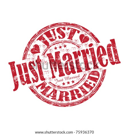 Red grunge rubber stamp with the text just married written inside the stamp - stock vector