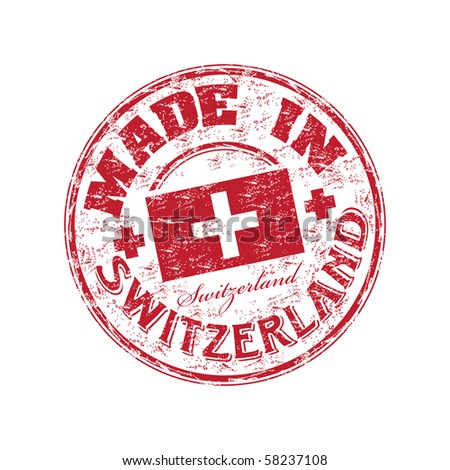 Red grunge rubber stamp with the text made in Switzerland written inside the stamp - stock vector