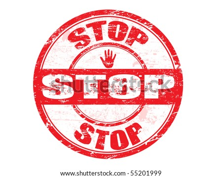 Red grunge rubber stamp with the word stop written inside the stamp - stock vector