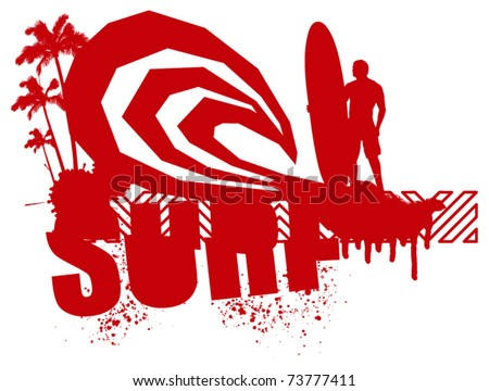 red grunge surf scene with surfer - stock vector