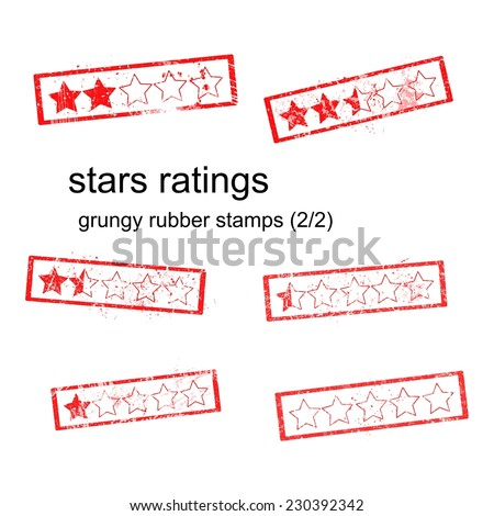 red grungy rubber stamp five stars ratings isolated on white, vector, set 1/2 - stock vector