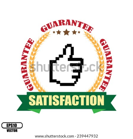Red Guarantee Circle and Green Ribbon Satisfaction Icon, Sticker or Label Isolated on White Background. Vector illustration.