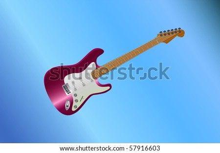 red guitar lying ( background on separate layer ) - stock vector