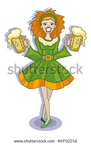 Red-haired girl with glasses of beer