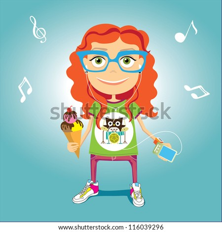 red haired  girl with ice cream - stock vector
