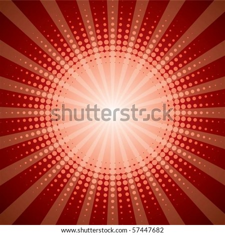 Red halftone with shine effect background - stock vector