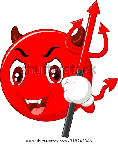 Red Halloween emoticon Devil with Trident in Cartoon Style. Vector - stock vector