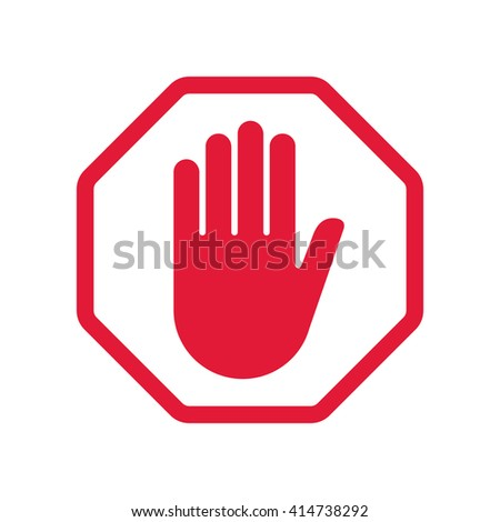 Red hand blocking sign stop .Vector illustration.
