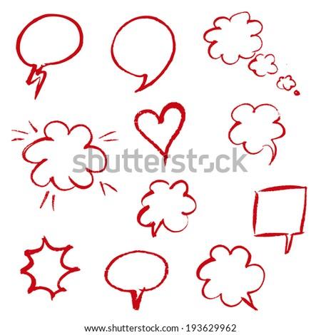Red Hand Draw Speech Bubble, Vector Illustration - stock vector
