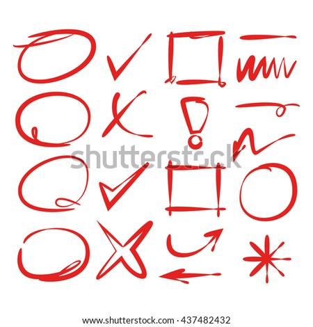 red hand drawn check marks, arrows, and circle markers - stock vector