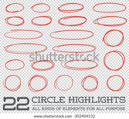 Red Hand Drawn Circles Rounds Bubbles Set Collection in Vector  - stock vector