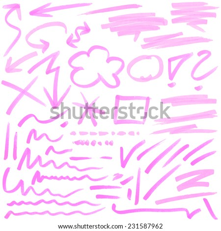 red hand drawn colored markings from a highlighter - stock vector